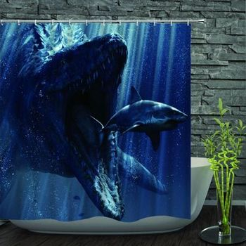 Century Printed Polyester Blue Ocean Pattern Customized Waterproof Shower Curtain For Bathroom