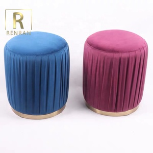 modern design kids chair lounge fabric round ottoman living room furniture Amazon Ottoman Footstool Velvet Pouf