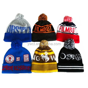 Wholesale Knitting Pattern Sports Club Fans Pom Pom Beanie Football Team Hat  Caps with Top Ball d578418215d