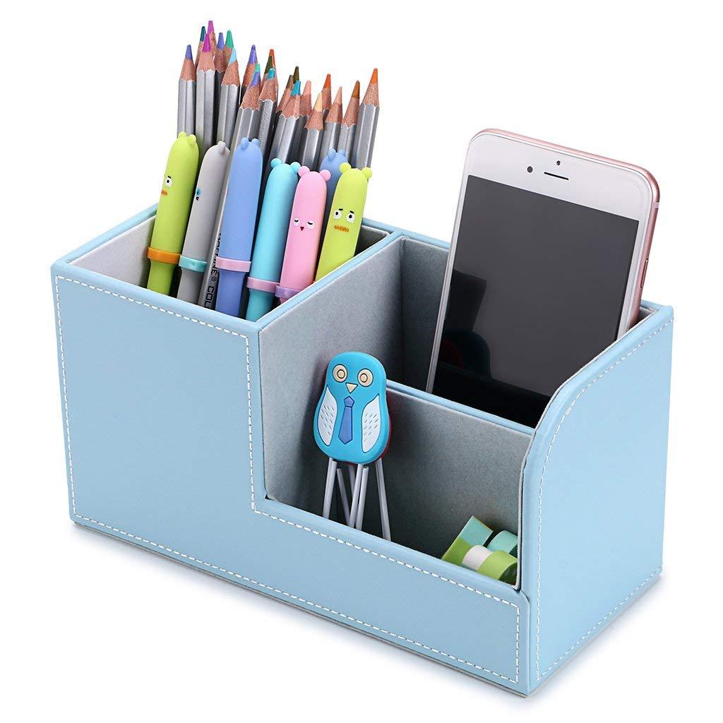 Search For Flights Multifunctional Office Desktop Decor Storage Box Leather Stationery Organizer Pen Pencils Remote Control Mobile Phone Holder Desk Accessories & Organizer