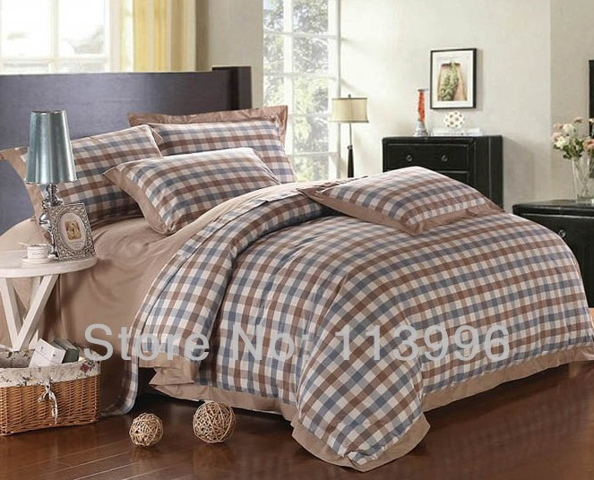 Yarn Dyed Simple Plaid Cotton Comforter Bedding Set