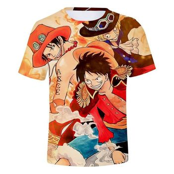 3D Print Short Sleeve Anime One Piece Printed T-Shirt Cosplay Costume Tee One Piece T shirt