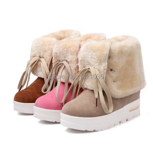 Baqijian Women Boots Fur Winter Snow Boots Female Shoes Warm Ladies Ankle Boots Women Botas Botte Femme Zapatos Pink 4.5