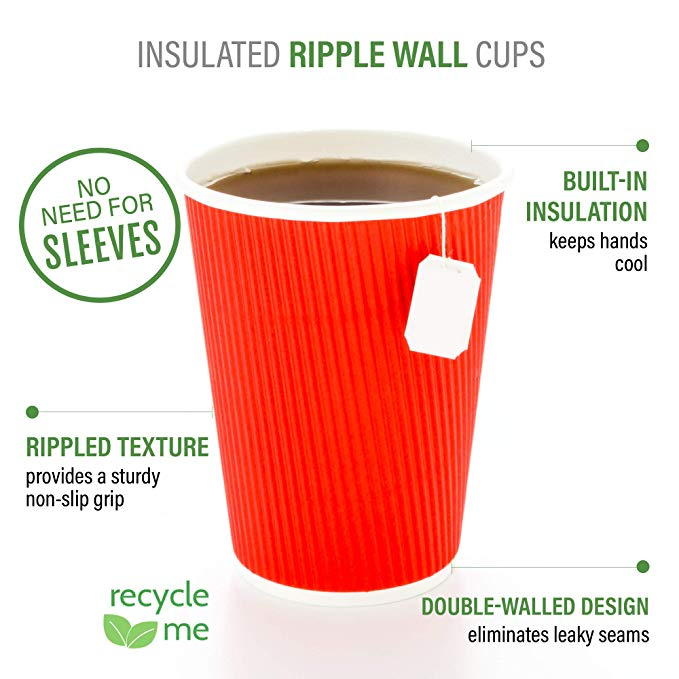 8oz 12oz 16oz take out hot coffee drinks kraft double wall ripple paper cups with lid