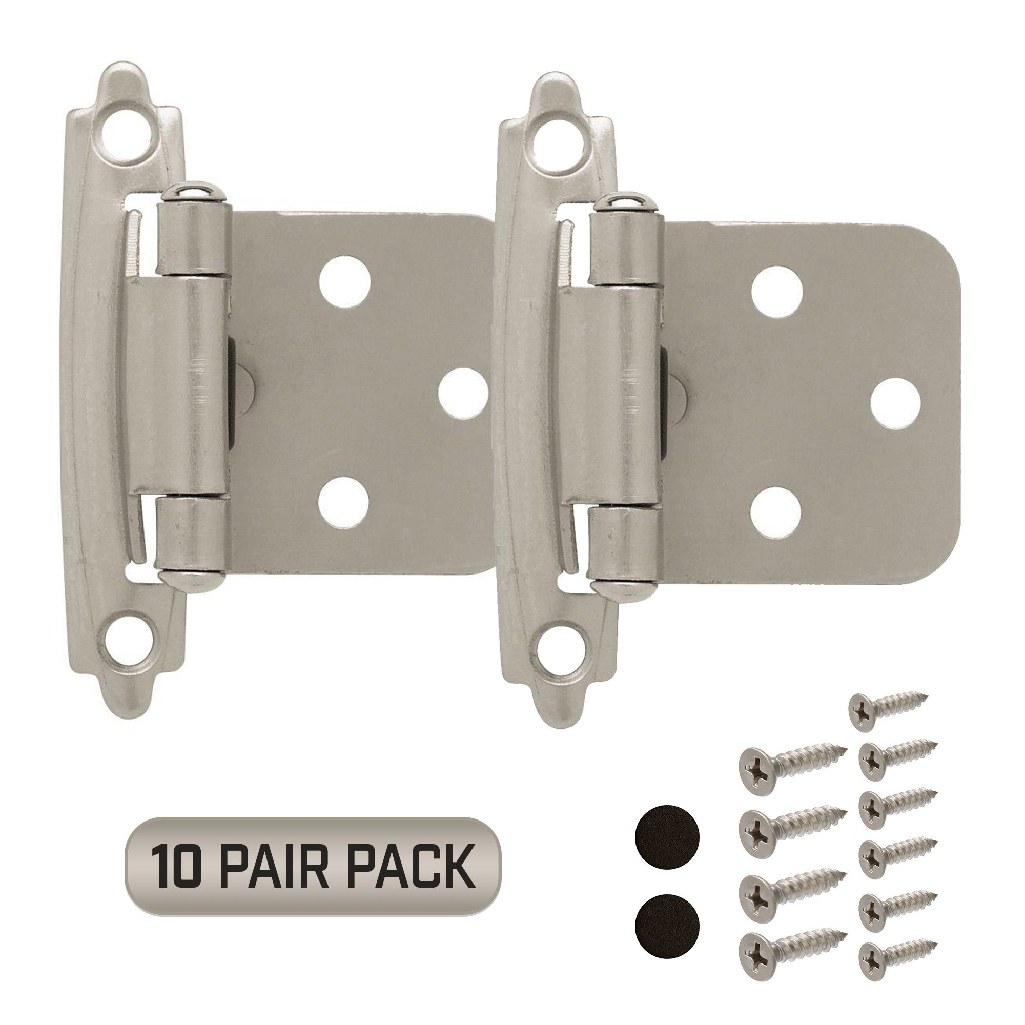 Cabinet Door Hinges 10 Pair Pack 20 Pieces Self Closing Face Mount Overlay