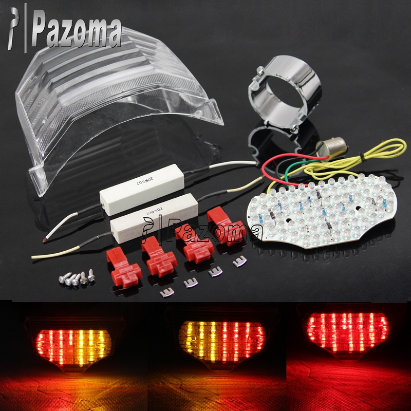 Pazoma High Quality Plastic Transparent Motorcycle LED Integrated Tail Lights For Yamaha FZ6 Fazer 600 03-08