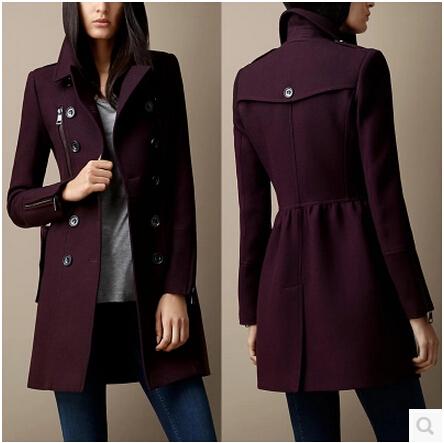 Европейский и америка большой корейский приталенный британский стиль двубортные длинная участок молния шерсть шерстяная ткань пальто