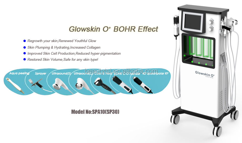 SP30 Facial skin care and rejuvenation 7 in 1 Glowskin O+ and carbon oxygen skin tighten machine