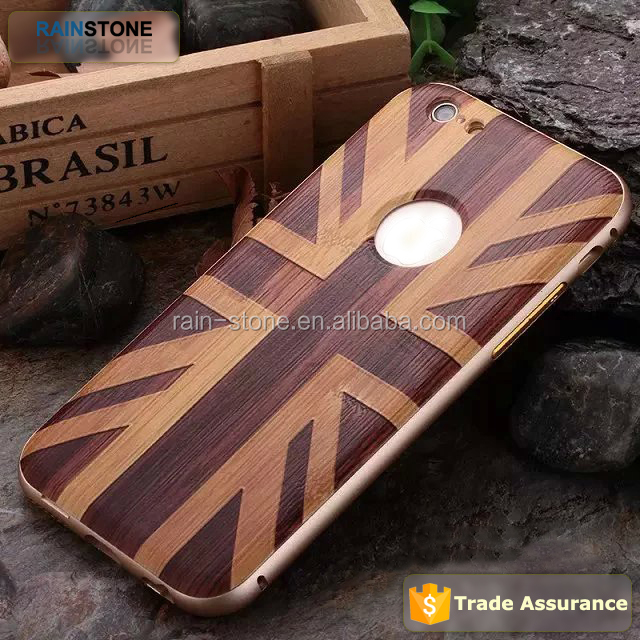 Wooden case for iPhone 5 metal bumper case waterproof mobile phone case back cover