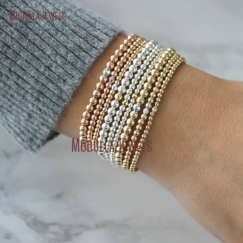 Bo14770 Gold Beads Bracelets 14k Filled Various Size Faceted Rose Silver Multi Layer