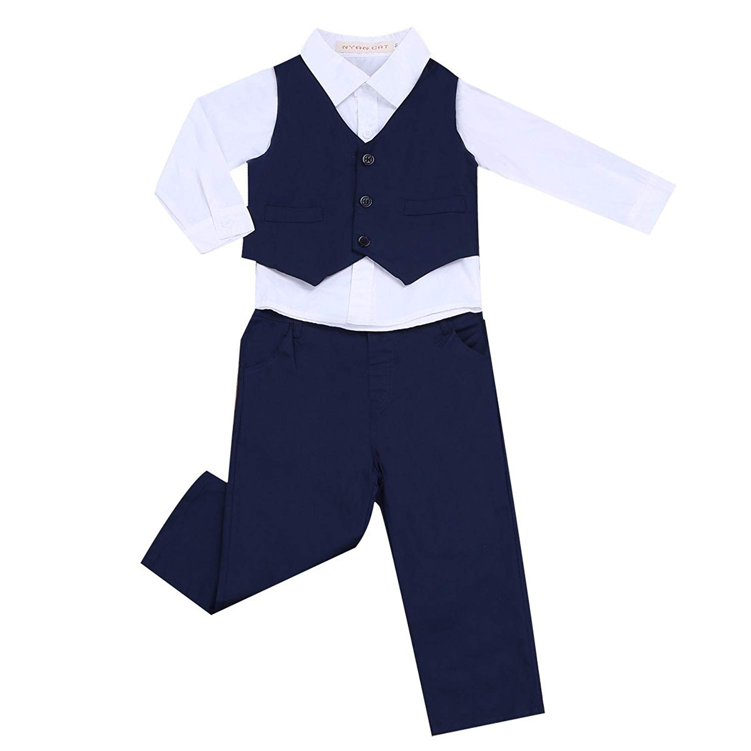 3190442383407 Get Quotations · FEESHOW 3Pcs Baby Boys Gentleman Tuxedo Outfits Long  Sleeve Top Shirt Pants with Vest Set