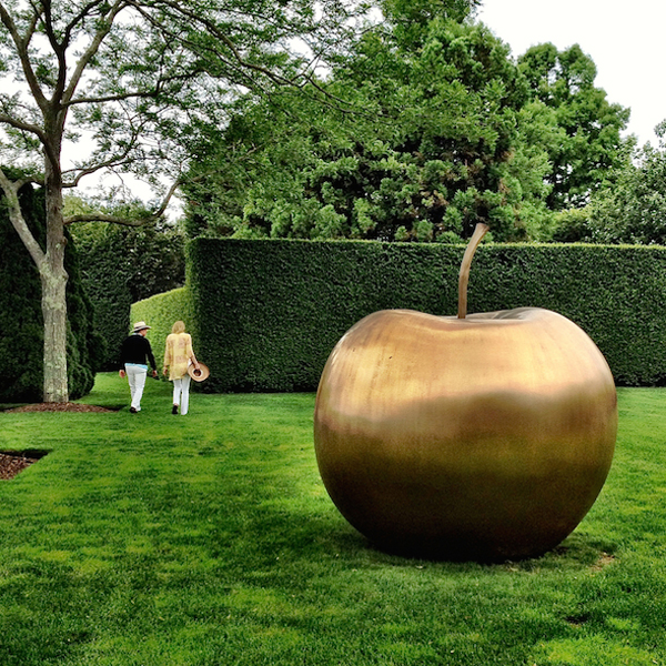 Large Modern Stainless Steel Apple Sculpture Contemporary Metal Garden Ornament