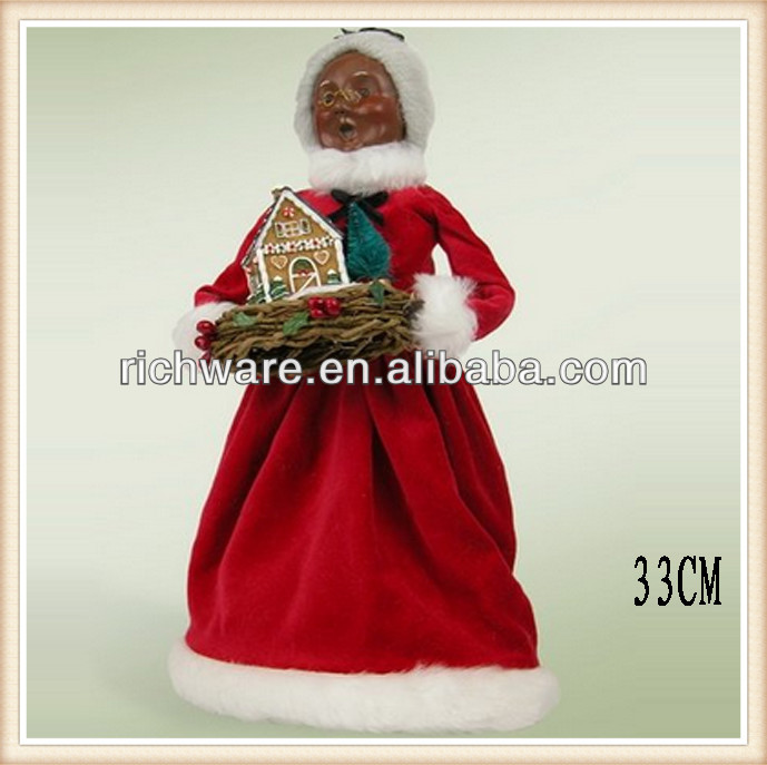 Resin African American Mrs santa claus with gelatin mold figurine