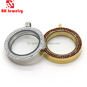 China Supplier Double Line Crystals Floating Locket Elegant Locket Wholesale