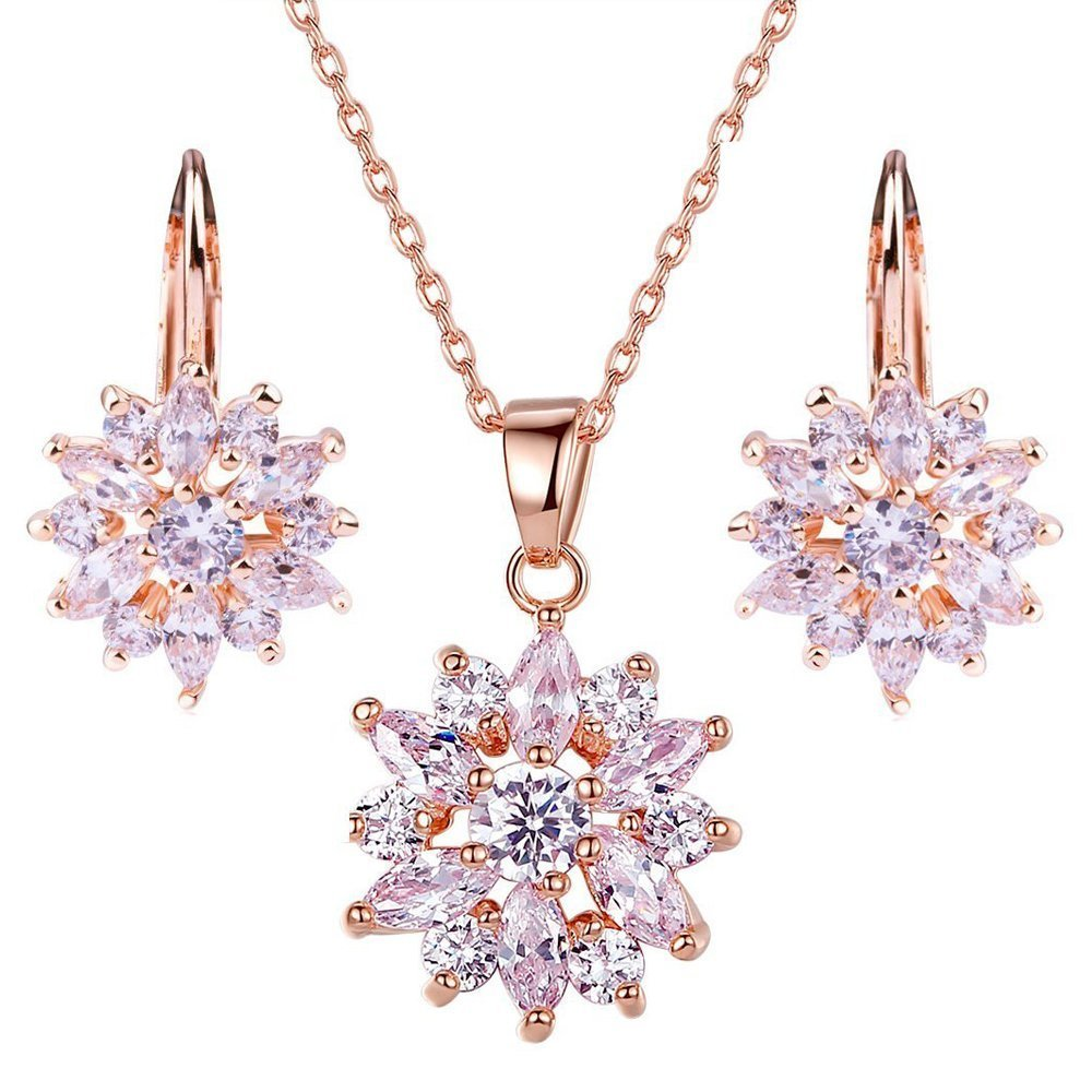 Get Quotations Jewelry Necklace Earrings Set Morenitor Tm 18k Gold Plated Snowflake Earring Stud
