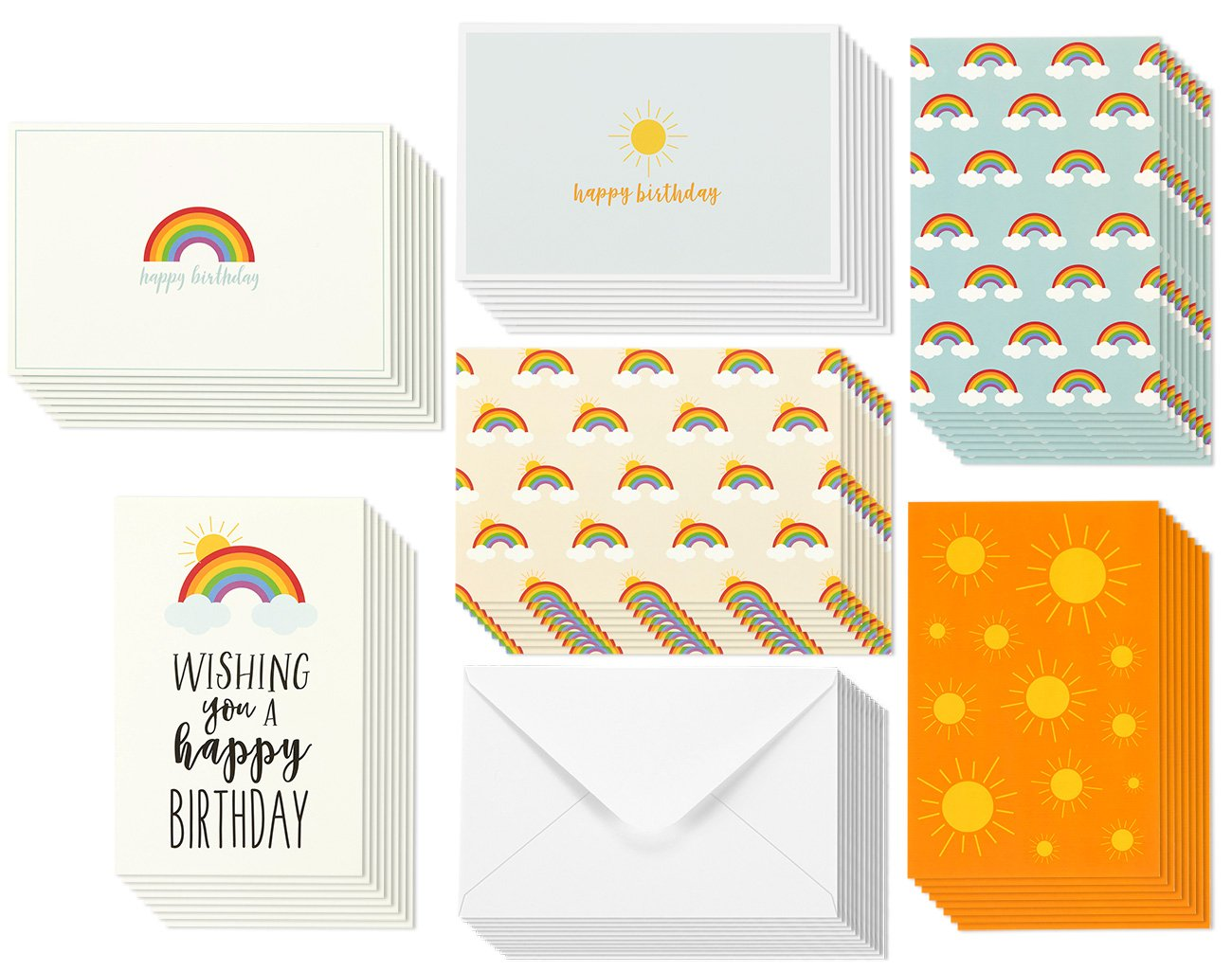 Birthday Card - 48-Pack Birthday Cards Box Set, Happy Birthday Cards – Rainbow and Sun Designs Birthday Card Bulk, Envelopes Included, 4 x 6 inches