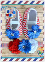 Baby chevron crib Set 4th of July Shoes and headband set Red Chevron crib shoes white red blue flower headband baby shoes