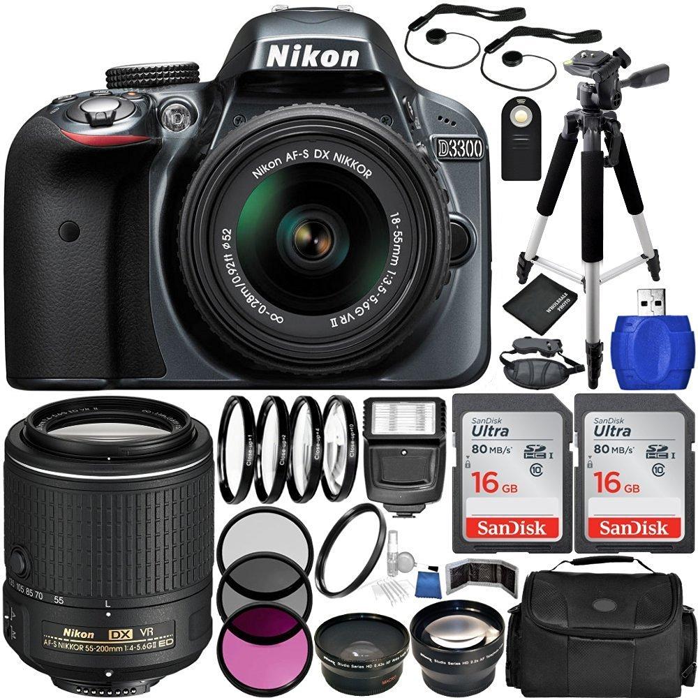 Buy Nikon D3300 Ultimate 4 Lens Experience Includes Camera Kit 18 55mm Vr Ii Dslr Gray Bundle With Dx Nikkor F