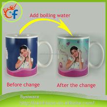 Ceramic Tea Cup Heat Sensitive Color Changing Temperature Change Magic Mug Cup/Personalized Hot Water Custom Color Changing Mugs