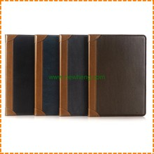 Retro Plain Pattern Double Color Stand flip pu leather case for ipad air 1