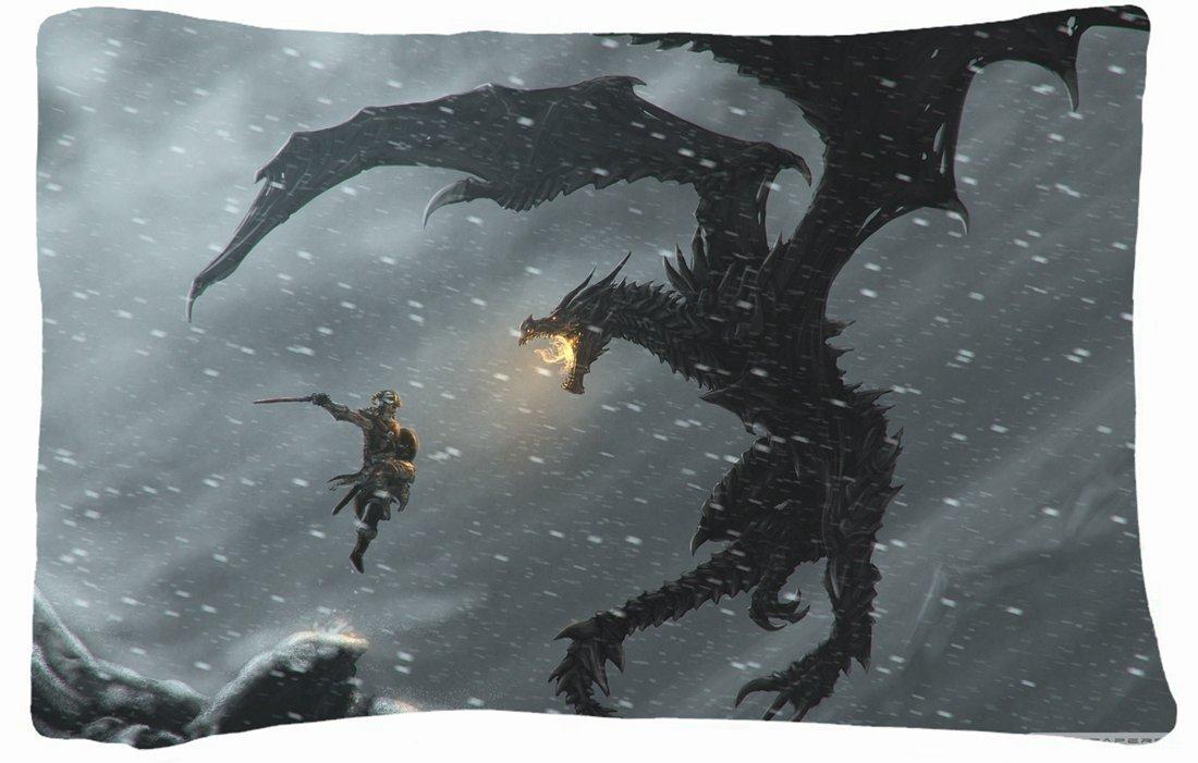 Microfiber Peach Standard Soft And Silky Decorative Pillow Case (20 * 26 Inch) - Nature Snow Snow Dragons Fantasy Art Warriors The Elder Scrolls V Skyrim Nature Snow