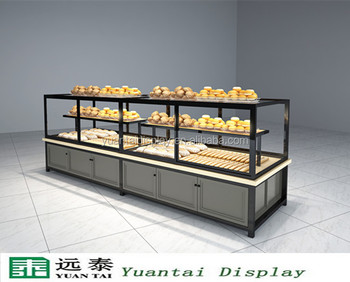 Wood And Metal Display Cabinet For Bakery Shop Showcase Design