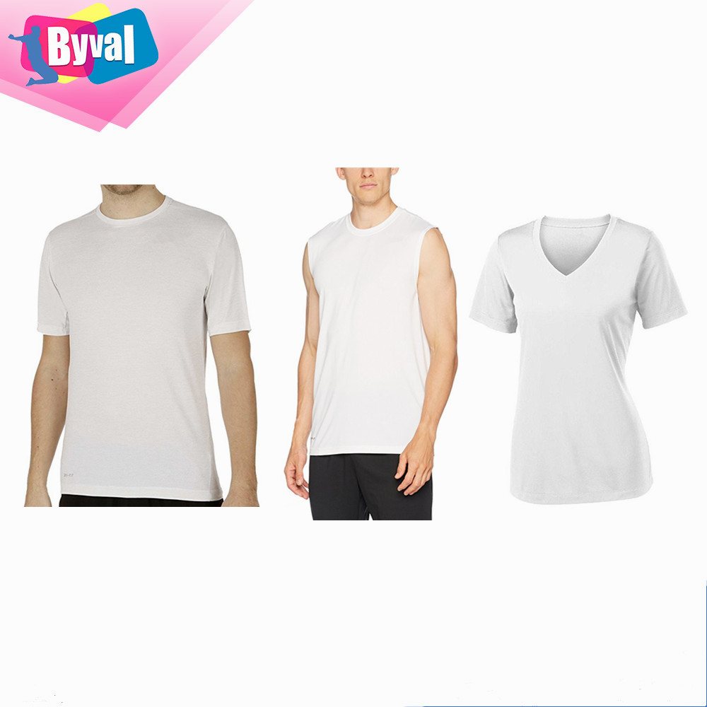 White Dri Ft T Shirt 100% Polyester Mesh T-Shirt Large Quantity in Low Price Raw Material Tee Jersey for Digital Laser Printer