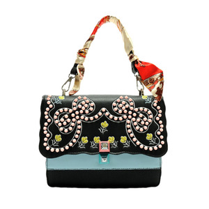 Fashion Women Embroidery Crossbody Bag Messenger Rivet Shoulder PU Leather Bag Black/White