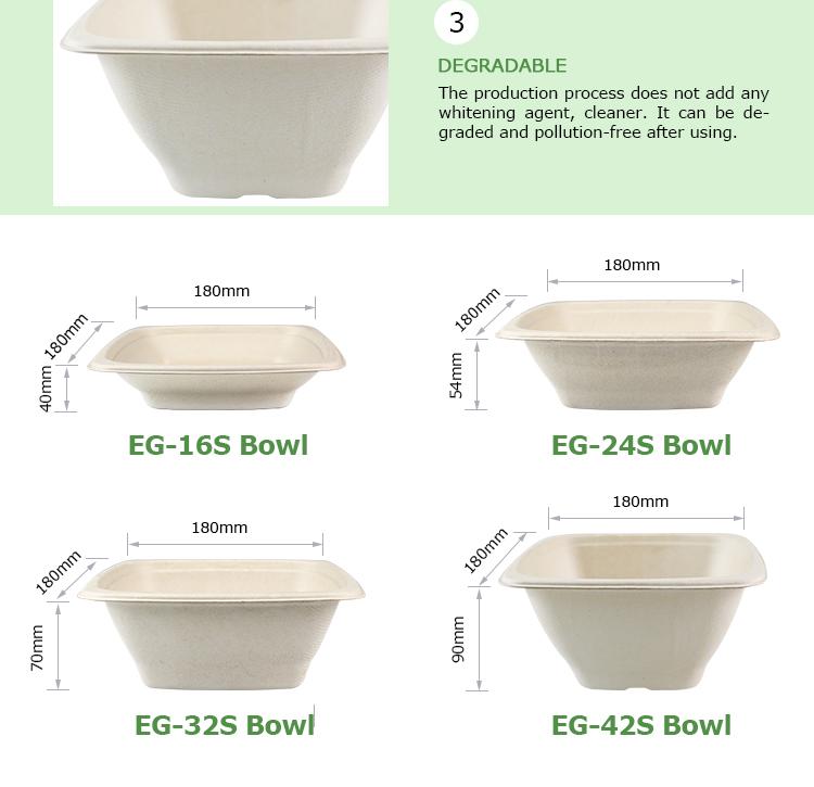 Салат из сахарного тростника Easy Green 42 oz Biodegradable одноразовые бумажная суповая миска крышек