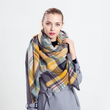 Women's Winter Scarf Tartan Tassel Plaid Shawl Large Warm Soft Chunky Square Scarf Wrap Blanket