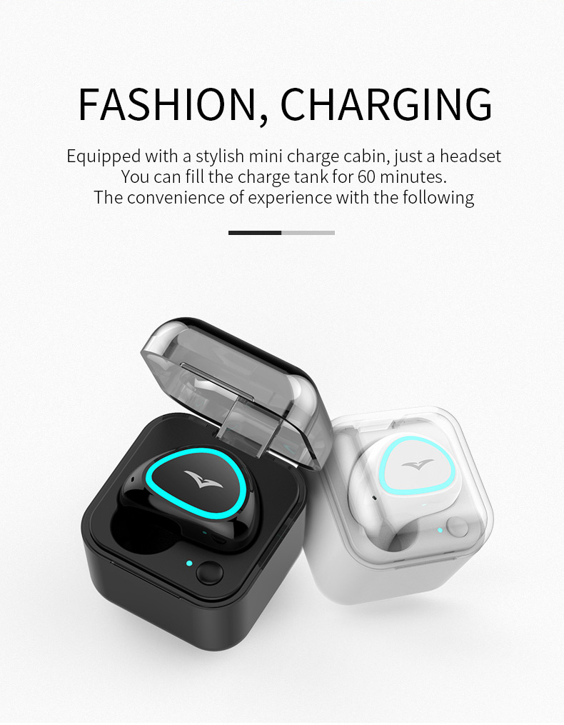 Single ear Blue tooth headset with charging bin ultra small mini earphones earbuds cube  cube headphones for iphone9