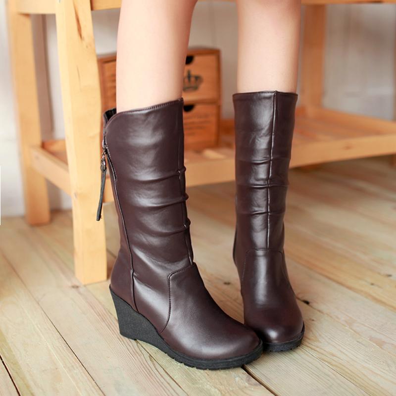 Brown Wedge Heel Boots Fs Heel