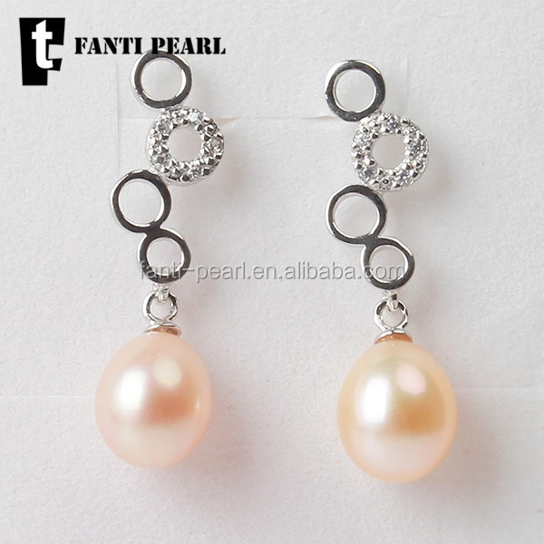 <strong>fashion</strong> and cute 925 silver number 8 freshwater pearl jewelry earrings rice pearl shape 7-8 mm AAA pearl less blemish