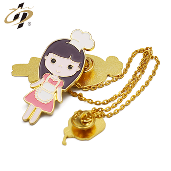 Shuanghua factory custom die struck metal enamel girls lapel pin with necklace