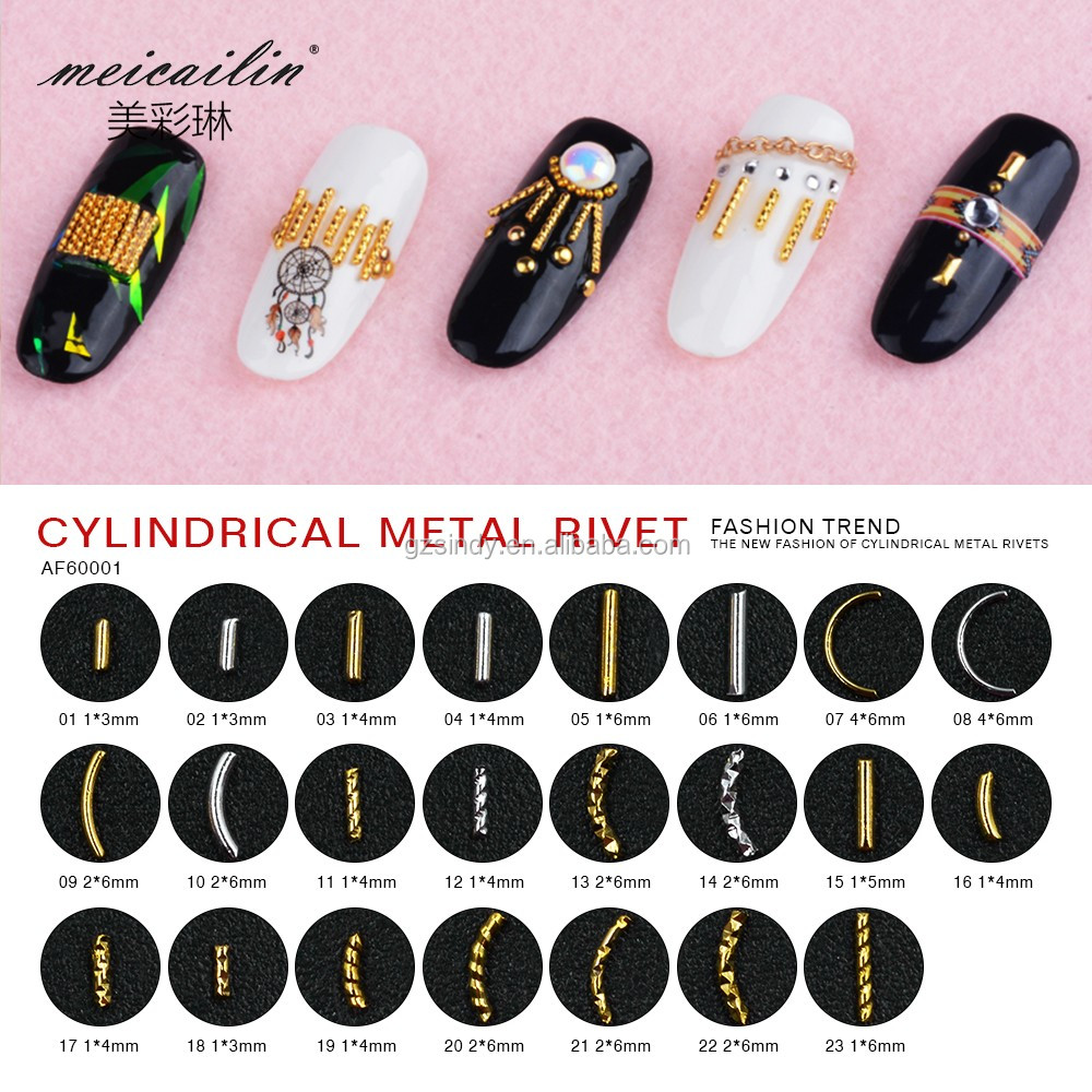 Silver Gold Rivet Alloy Metal Charm Decoration Cylinder Studs 3D DIY Manicure Tools Accessories