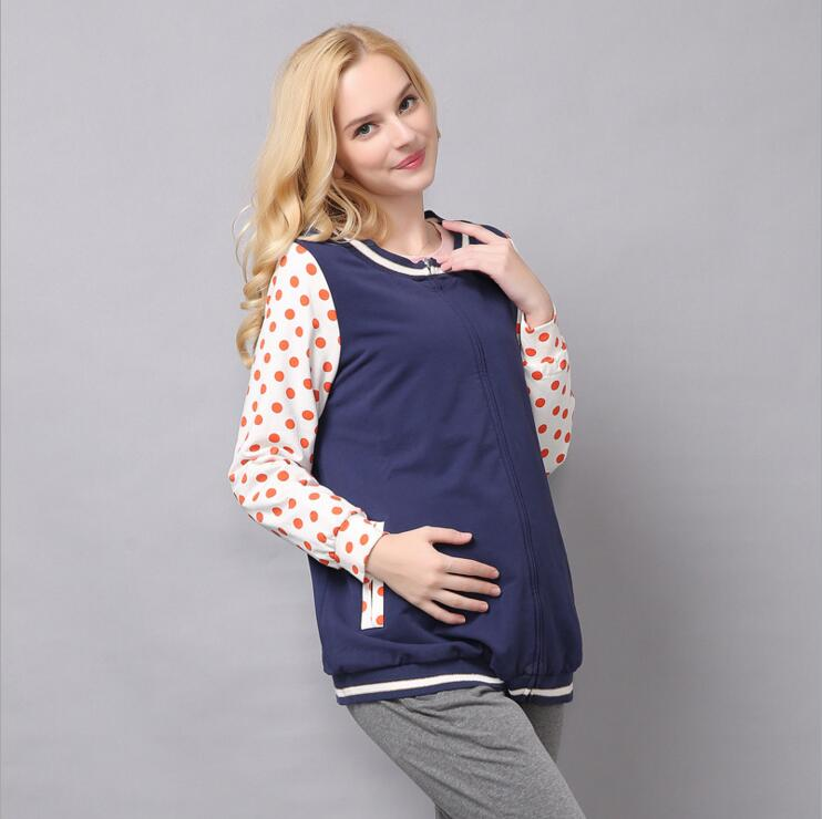 New Maternity Spring Outerwear Dot O Neck Long Sleeve With Zipper Pregnancy Coat Jackets Clothes for