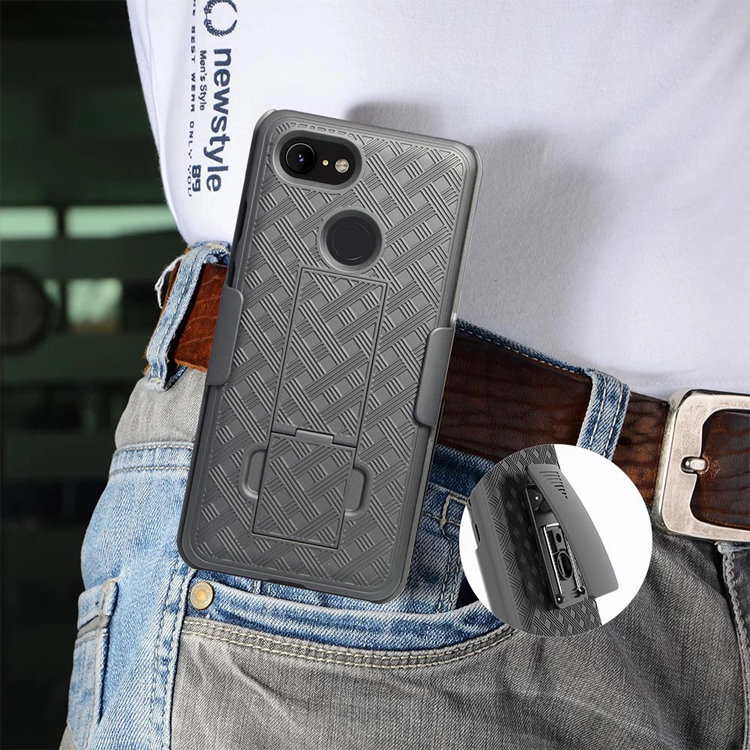 360 degree holster combo case with belt clip kickstand case  for Goole pixel 2 3 XL