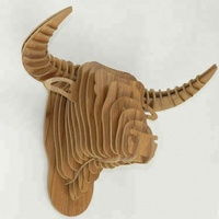 3D plush costom hanging bull animal heads for wall decoration