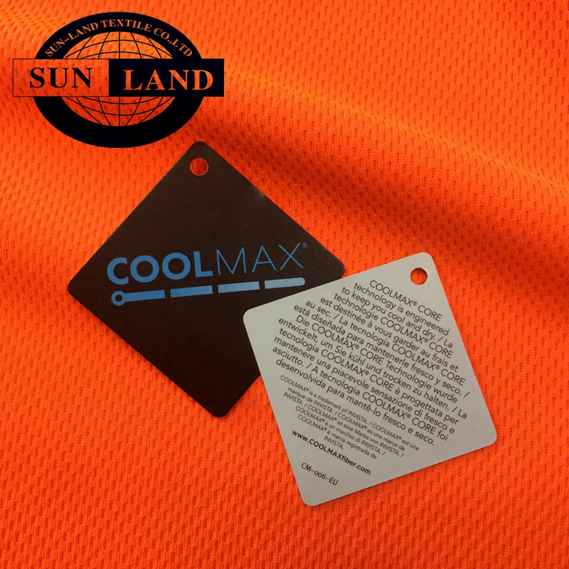 45% coolpass quick dry yarn 55% modified cationic polyester weft knit honey comb mesh moisture wicking sportswear fabric