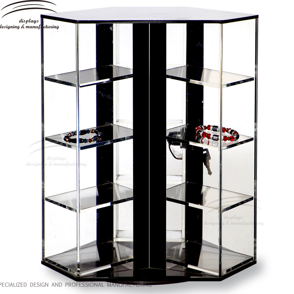 Weitu nail polish display case with lock customized cheap professional layer counter wholesale cosmetic display showcase