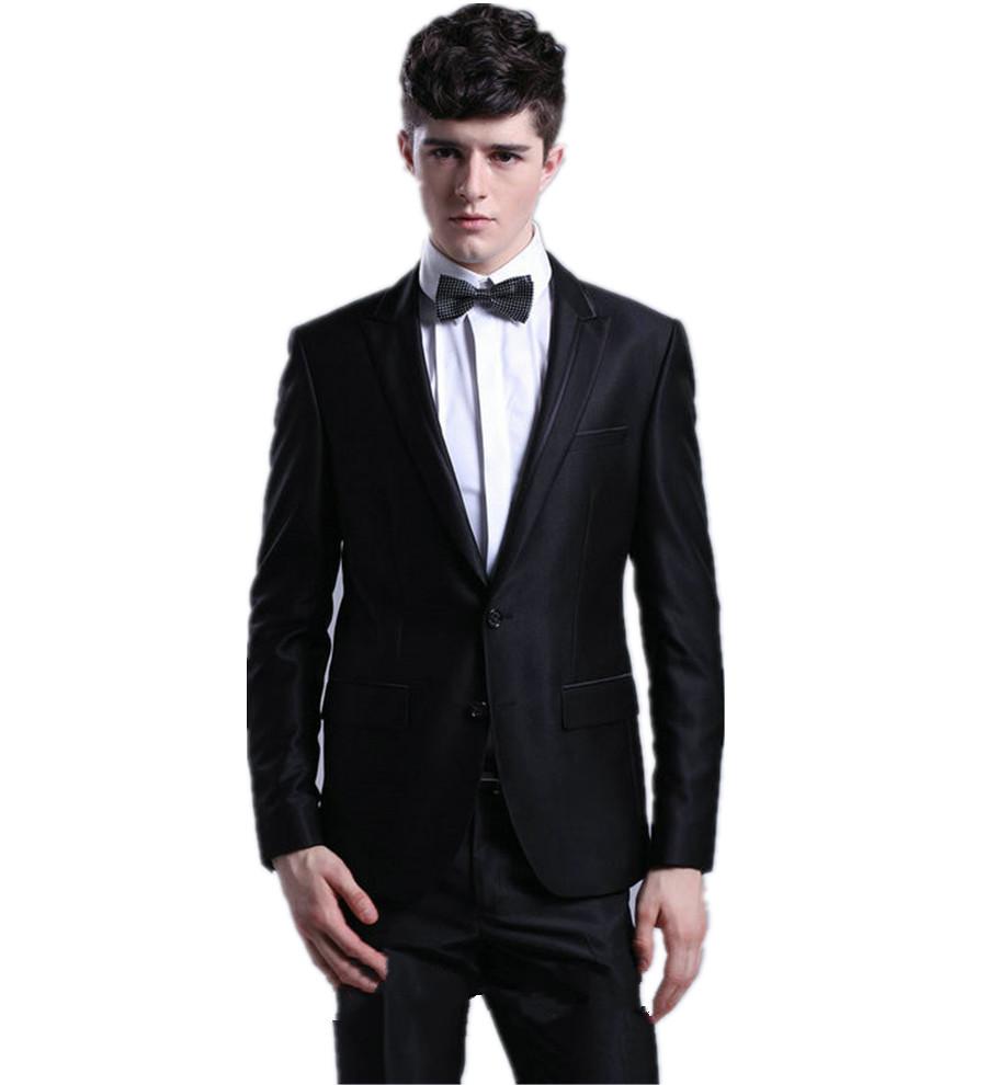 Buy 2015 New Handsome Black Groom Tuxedos Best Man Suit Notch ...