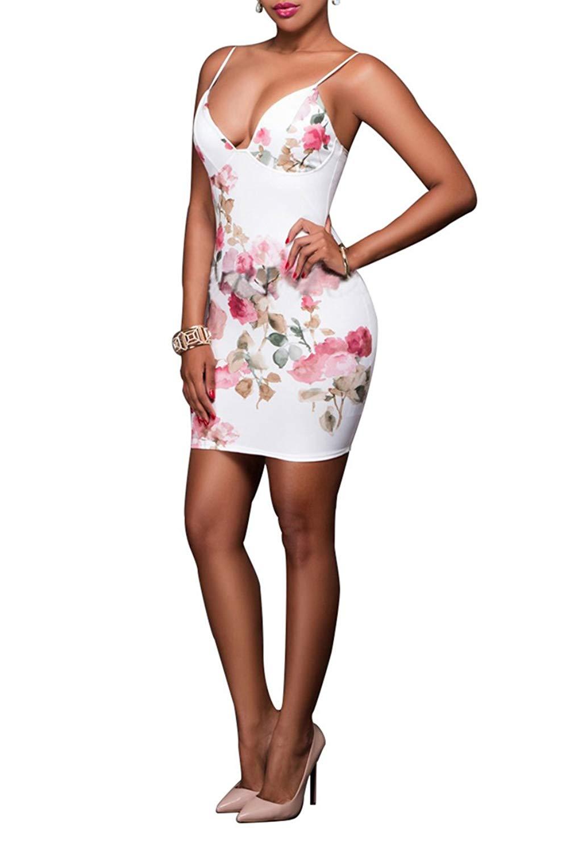 Get Quotations · Womens Straps Floral Mini Dress Backless Plunge Neckline  Sundress Pencil Dress 8f314f8f5a