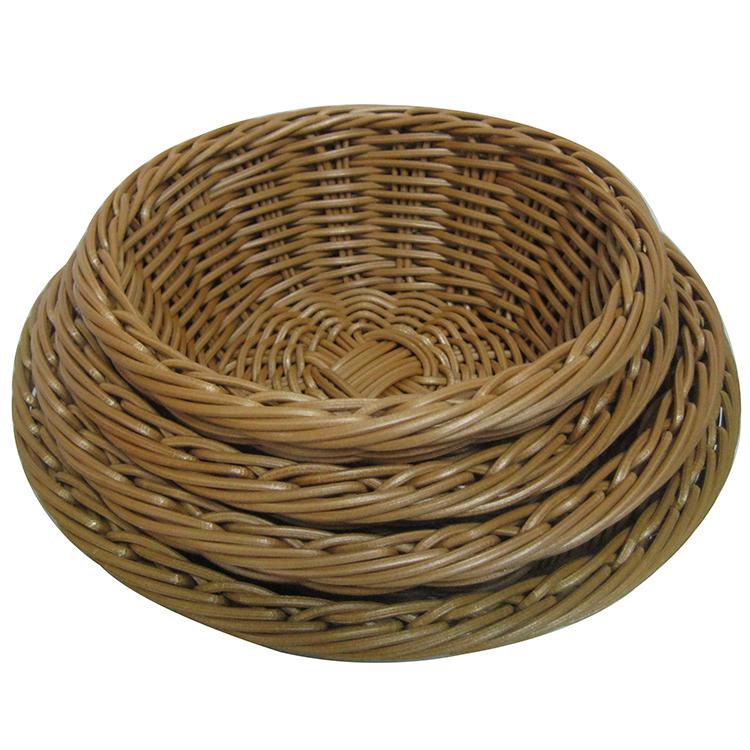 Cheap Round Plastic Rattan Basket / Bread Display Basket / PP Wire Food Grade Bread Basket