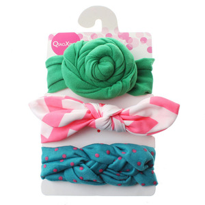 Wholesale 3pcs/set Rabbit Ear Baby Headband Top Knot Bows Hairband Toddlers Hair Accessories For Little Girls