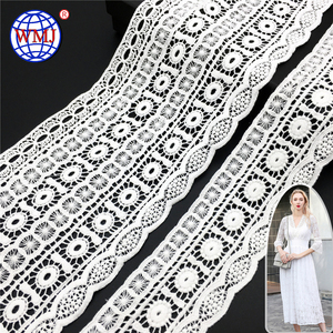 5 Inch wide embroidered border cotton top guipure bulk corded lace trim