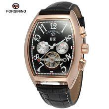 Мужские часы Forsining с турбийоном, автоматические многофункциональные наручные часы из натуральной кожи черного цвета, FSG9409M3(Китай)