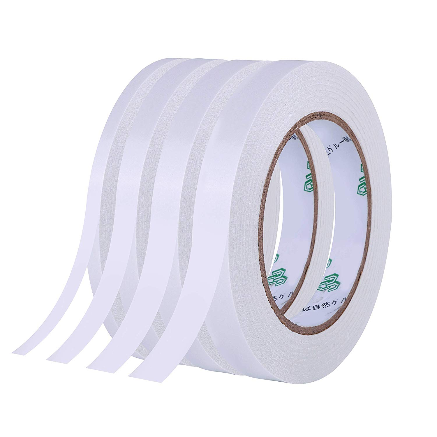 Atrigger 4 Rolls Double Sided Adhesive Tape for Scrapbook,Gifts, Photos,Documents, Craft Projects, Cards and Boxes (Width: 1/4 Inch, 1/3 Inch, 1/2 inch, 3/4inch, 43.7yards/40M Each roll)