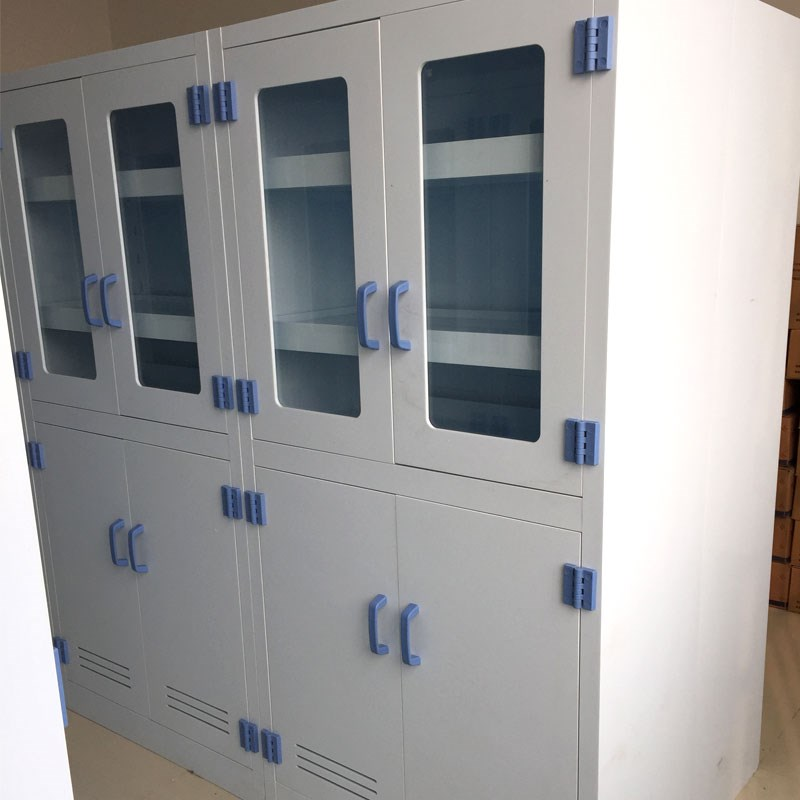 Bow handle locking medicine cabinet for science lab