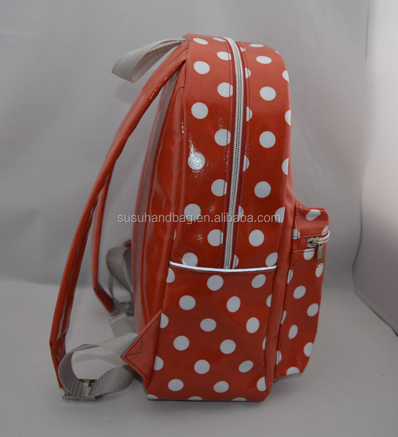 Dots Printing PVC Coated Canvas Kids Backpack