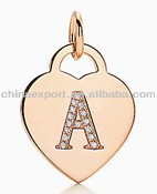 "Alphabet heart tag letter ""A"" charm in 18k rose gold Letters A-Z available"